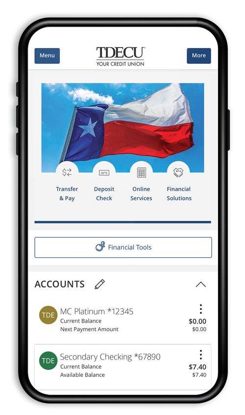 Digital Banking mobile account view