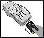 Using a chip card: Step One